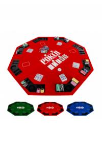 Pokerauflage 8-eckig 122cm, Farbe rot