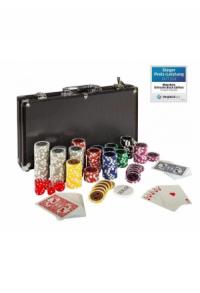 Pokerkoffer, Pokerset, mit 300 Laserchips, BLACK EDITION